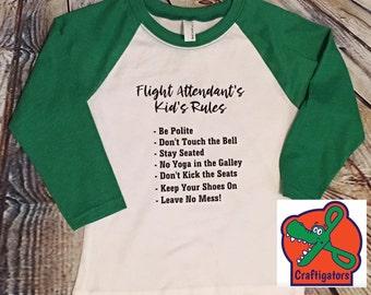 Flight Attendant - Stewardess - Pilot - Non-rev Kid's Rules Shirt Raglan