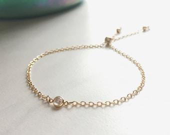 Gold Cubic Zirconia Bolo Bracelet
