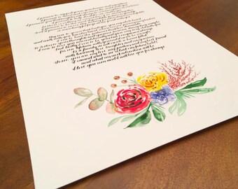 Custom Calligraphy Wedding Vows + Watercolor Design *351 - 500 words*