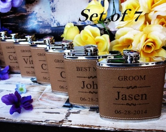 Set of 7 Groomsmen and Bridesmaids Gift Flasks / Great Wedding Party Favors for Officiant, Best Man, Maid of Honor, Mother of Bride and More