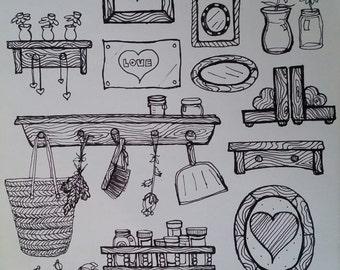 Digital Download, Instant download, living room art, dorm room decor, bedroom decor, frame-able art, DIY Prints, Line drawing