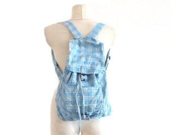 70s Vintage Backpack / Blue tartan backpack / Cotton bag