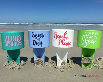 Cheeky Beach Phrase Drink Spiker - Drink Holder for the Sand - Great for wedding parties, beach weekends, family reunions and more!