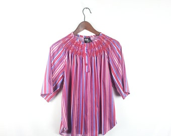 Vintage 70s XL Blouse Pink Striped with Smock Neck