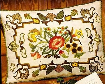 Red Floral Jacobean Pillow crewel embroidery kit (Erica Wilson)