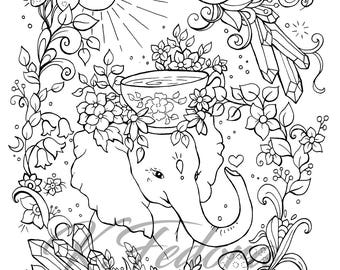 coloring page downloadcoloring pageelephant coloring pageelephant artdecorative border - Coloring Page Elephant Design