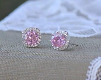 Pink Crystal Stud Earrings, Pink Bridal Earrings, Bridesmaids Stud Earrings, Pink Wedding Earrings, Pink Blush Post Earrings