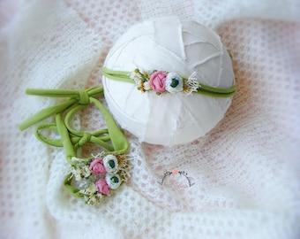 Skinny tieback newborn prop, Newborn tieback, Newborn flower headband, Newborn photography props