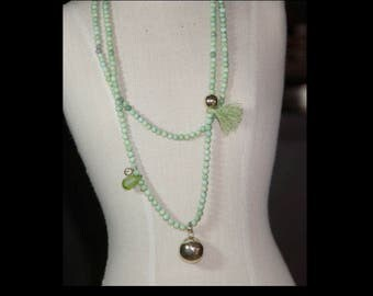 Green Peruvian Opal and harmony ball necklace.