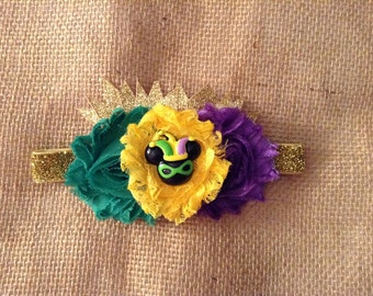 Mardi Gras -Fat Tuesday- Newborn-girls couture headband-photo prop- New Orleans