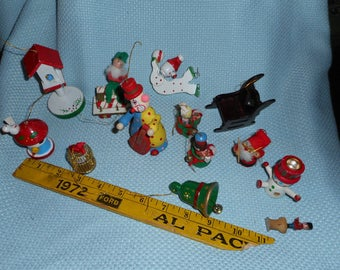 10 Wood Assorted Retro Ornament Lot Metal Birdcage Birdhouse Tree Clown