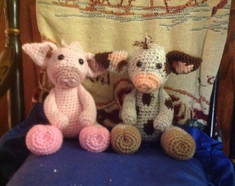 Pheobe the pig, crocheted baby pig toy