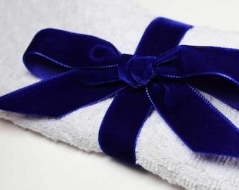 22mm  wide Luxury Velvet Ribbon MIDNIGHT BLUE   per metre; High End Quality.  Weddings, Dressmaking, Crafts etc
