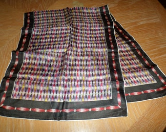 "Vintage Black Multi Colored Rectangular Scarf 42"" x 17"""
