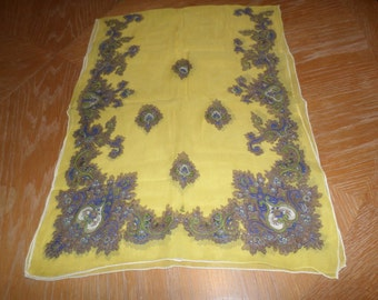 """Vintage Yellow Multi Colored Scarf 42"""" x 15"""""""