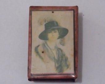 Antique Match Box Holder Edwardian Match Box Holder Photo of Pitcures of Vogue Ladies  Antique match case 1920s Picture Match Holder