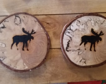 Alaska Birch Moose Coasters