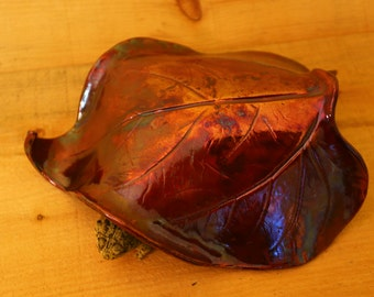 Red Metallic Sunflower Leaf Toad House Raku for the Garden