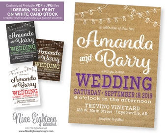 PDF Wedding INVITATION rustic look with bistro lights. Personalized printable invitation. I design, you print.