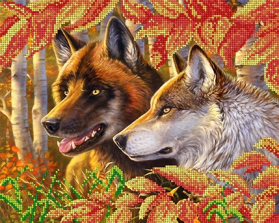 Faithfulness, Wolves, DIY bead embroidery kit,wall decor, painting, beading on needlepoint, wedding gift idea