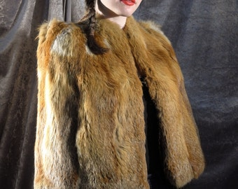 Gorgeous natural undyed red fox fur 1940's 40s caplet with fabulous variation in colour & damasked satin thistle lining!