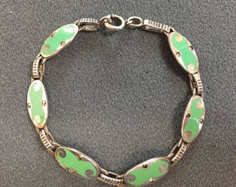 "Nice Art Deco Green Enamel on Sterling Silver Bracelet with Marcasite Accents-8"" Long. Free shipping"