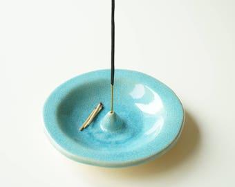 Incense Holder, Circle Incense Burner, Turquoise Incense Holder, Incense Bowl, Ceramics and Pottery, Handmade Incense Burner, Incense Plate