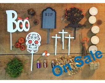 ON SALE 20% off - Halloween, Dia de los muertos, fall DIY fairy garden accessories grab bag.