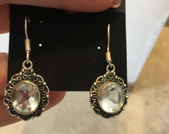 Vintage Style White Topaz 925 Sterling Silver Earrings