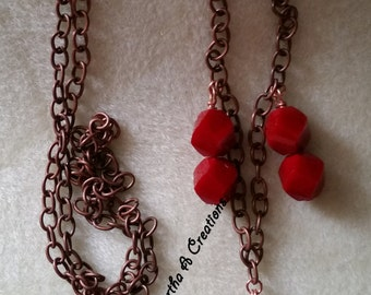 Copper & Red Bead Necklace Set