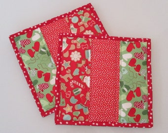 Set of Two Christmas Hot Pads | Holiday Hot Pad | Quilted Handmade Trivet | Red, Green, Aqua Trivet