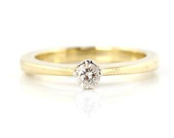 Diamond Solitaire Ring, Vintage Diamond Engagement Ring, Yellow Gold Ring, Diamond Ring, Flat Taper Ring, Solitaire Ring, Vintage Ring