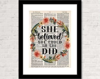 She Believed She Could So She Did - Flowers and Feathers Inspirational Art - Boho Decor, Modern Boho, Dorm Art, Graduation,  Dictionary Art
