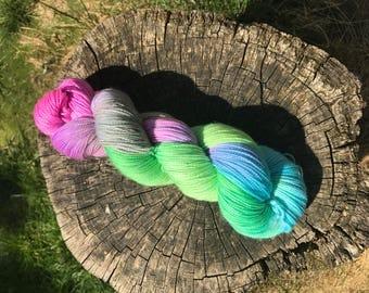 Wonderland sparkle sock yarn handdyed skein stellina 4ply