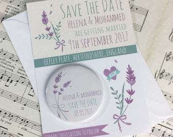 Wedding Save The Date Magnets Lavender Design (Complete With Backing Postcards)
