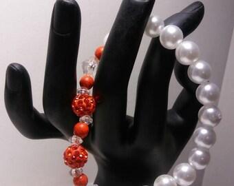 Orange & Pearl White Beaded Bracelet, Pave Bracelet