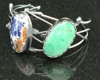 Branch Cuff with Sodalite and Chrysoprase-Sterling Silver Intuition Communication Prosperity Success Courage Metaphysical
