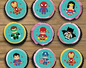 "15 X Personalised SUPERHERO Ironman Superman Spiderman Batman America Edible Icing Pre-Cut Cupcake Toppers 2"" Children's Birthday Party"