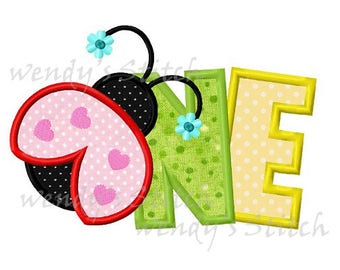 ladybug  one applique 1st birthday machine embroidery design instant download