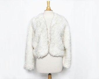 vintage 80s 90s white fuzzy shaggy faux curly lamb fur bolero cropped jacket M