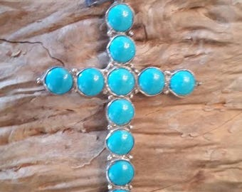 Vintage Sterling/Turquoise CROSS,MARKED,SIGNED,Mexico,signed M S