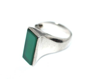 Architectural S'Paliu Spain Modernist Sterling Silver Green Chrysoprase Abstract Avant Garde Mid Century Statement Ring Vintage 70s Jewelry