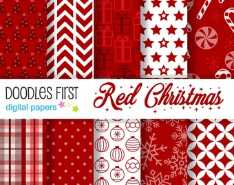 Red Christmas Digital Paper Pack Includes 10 for Scrapbooking Paper Crafts