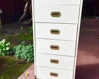 Vintage Campaign Style 6 Drawer Lingerie Dresser