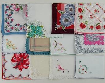 Vintage Hanky Lot of One Dozen Assorted Vintage Hankies Handkerchiefs (Lot #A14)