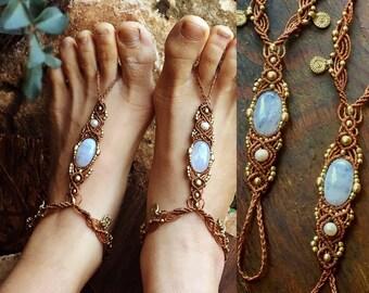 Macrame barefoot sandals, MOONSTONE, Barefoot Beach Jewelry, gemstones Hippie Sandals, Foot Jewelry, Toe Thong, festival accessories, yoga