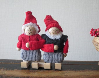 Vintage Swedish Gnome Couple Granddad Grandma wood gnomes in knitted outfits Scandinavian Christmas Home Decor Pair of Gnome Figurines @214