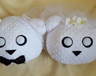 Wedding Bear Plushies Stuffed Animal Gift, Bride and Groom, Embriodery
