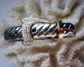 Belt Buckle Bracelet with Silver & Gold tone Metal - 5241