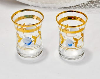 Pair Vintage Hand Painted Shot Glasses Bar Ware Gold Flowers